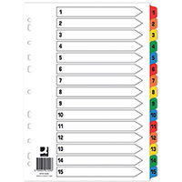Q-Connect Index 1-15 Board Reinforced Multicoloured Pack of 10 KF01520Q