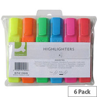 Q-Connect Highlighter Pens Assorted Colours Wallet Pack of 6 KF01909