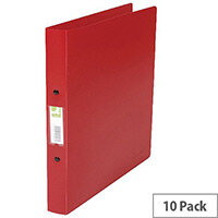 Q-Connect Red A4 2-Ring Polypropylene Binder Pack of 10 KF02008