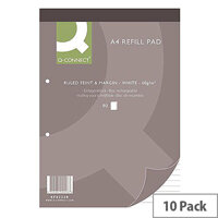 Refill Pad A4 Ruled Feint and Margin Punched 2-Hole Head Bound 80 Leaf 10 Pack Q-Connect