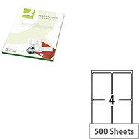 Q-Connect Copier Labels 105x148mm 4 per A4 Sheet Butt Cut Pack of 500 Sheets White