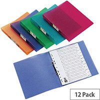 Q-Connect 2-Ring Binder A4 Frosted Assorted Pack of 12 KF02488