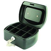 Q-Connect Mini 6 Inch Key Lock Cash Box Black 8 Coin Compartments