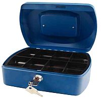 Q-Connect Compact 8 Inch Key Lock Cash Box Blue 8 Coin Compartments