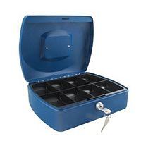Q-Connect Standard 10 Inch Key Lock Cash Box Blue