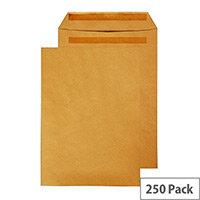 Q-Connect Pocket Envelopes B4 353x250mm Self Seal 90gsm Manilla Pack of 250