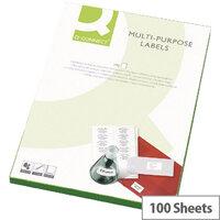 Q-Connect Copier Labels 210x287mm 1 per A4 Sheet Butt Cut Pack of 100 White