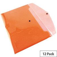 A4 Envelope Wallet Plastic Transparent Red Pack 12 Q-Connect