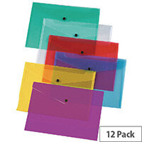 Q-Connect A4 Plastic Envelope Wallet Transparent Pack 12 - Assorted colours: 3 each of red, blue, green and clear - hold up to 150 sheets of A4 paper - Made from durable polypropyplene