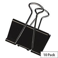 Q-Connect Foldback Clip 16mm Black (Pack of 10)