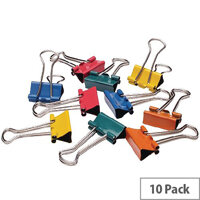 Q-Connect Foldback Clip 19mm Assorted Colours (Pack of 10)