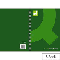 Q-Connect A4 Wirebound Book Recycled Green 3 Pack KF03731