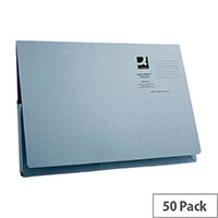Longflap Document Wallet 300gsm Foolscap Blue Pack of 50 Q-Connect