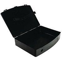 Foolscap Box File Black Plastic Twin Clip Lock 78mm Spine Q Connect