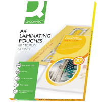 Q-Connect Laminating Pouches A4 Pack Of 100 - 80 Microns Each Side (160 Microns In Total) - Ideal For Posters, Photos, Signage, Notices & More