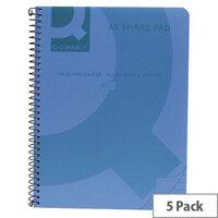 Q-Connect Spiral Book A5 Polypropylene Transparent Blue 5 Pack KF10034