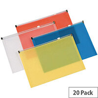 Q-Connect Document Wallet Zip A4 Assorted Pack 20 KF16552