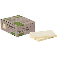 Q-Connect Recycled Notes 127x76mm Yellow Pack of 12 KF17322