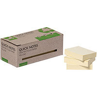 Q-Connect Recycled Notes 38x51mm Yellow Pack of 12 KF17323