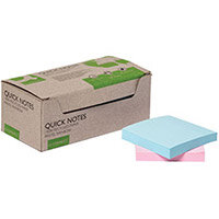 Q-Connect Recycled Notes 76x76mm Pastel Rainbow Pack of 12 KF17324
