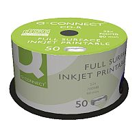Q-Connect Inkjet Printable CD-R Spindle - For data and music - 52x Speed, 700MB/80 Minute Capacity - (Pack of 50)