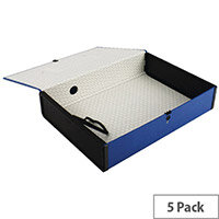 Box File Foolscap 75mm Spine Blue 5 Pack Q-Connect
