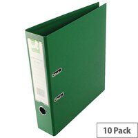 Q-Connect Green A4 Polypropylene Lever Arch File Pack of 10