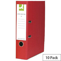 Foolscap Lever Arch File Paper Board Red 10 Pack Q Connect