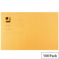 Q-Connect Orange Square Cut Folder Lightweight 180gsm Foolscap Pack of 100