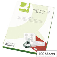 Q-Connect 1 Per Sheet Multi-Purpose Labels 199.6x289mm (100 Labels)