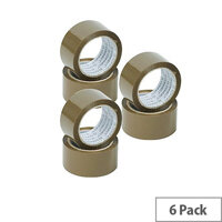 Q-Connect Packaging Tape 50mmx66M Buff Pack 6