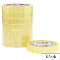 Q-Connect Easy Tear Polypropylene Tape 19mmx66m Pk 8 KF27016
