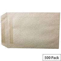 Q-Connect  C5 Manilla Envelopes Pocket Self Seal 90gsm Pack 500 KF3441