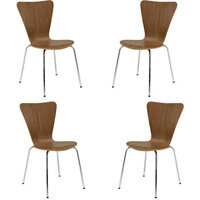 Arista Wooden Bistro Chair Walnut and Chrome Pack of 4 KF72578