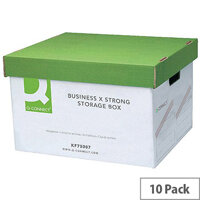 Q-Connect Extra Strong Business Storage Box W327 x D387 x H250mm 10PK Green and White