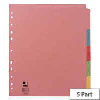 Extra Wide Subject Divider Multi-Punched A4 5-Part Assorted Colours Q-Connect