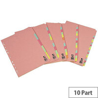 Extra Wide Subject Divider Multi-Punched A4 10-Part Assorted Colours Q-Connect