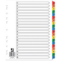 Q-Connect EW Index A-Z Reinforced Multicoloured Pack of 15 KF76986Q