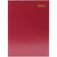 Desk Diary Day Per Page Appointments A4 Burgundy 2022 KFA41ABG22