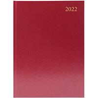 Desk Diary Day Per Page A4 Burgundy 2022 KFA41BG22