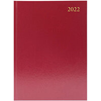 Desk Diary Day Per Page Appointments A5 Burgundy 2022 KFA51ABG22