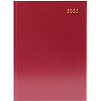 Desk Diary Day Per Page A5 Burgundy 2022 KFA51BG22