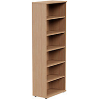 Tall Bookcase with Adjustable Shelves and Floor-leveller Feet W800xD420xH2210mm Beech  - Universal Storage Can Be Used Alone Or Accompany The Switch, Komo or Ashford Ranges