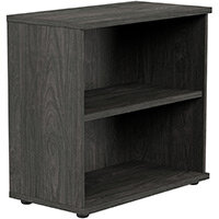 Kito Low Bookcase With Adjustable Shelves & Floor-leveller Feet W800xD420xH770mm Carbon Walnut