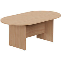 Kito W1800mmxD1000mm Beech D-End Boardroom Table with Panel Leg Base - 6-8 Person Seating Capacity