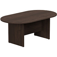 Kito W1800mmxD1000mm Dark Walnut  D-End Boardroom Table with Panel Leg Base - 6-8 Person Seating Capacity