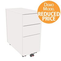 [Demo Model] Slimline Mobile Steel Pedestal With 2 Stationery & 1 Filing Drawer 300mm Wide White Kito X-Series