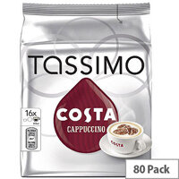 Tassimo T-Discs Costa Cappuccino Coffee 8x5 Sleeves (Pack of 40 Capsules) - Makes 40 Drinks