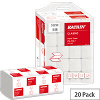 Katrin Classic Zig Zag 2-Ply White 200 Sheet Pack of 20 35298