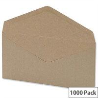 5 Star Office Envelopes Lightweight Banker Gummed Window Manilla DL 75gsm Pack of 1000